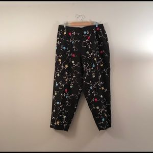 Talbots Irish linen floral embroidered ankle pants